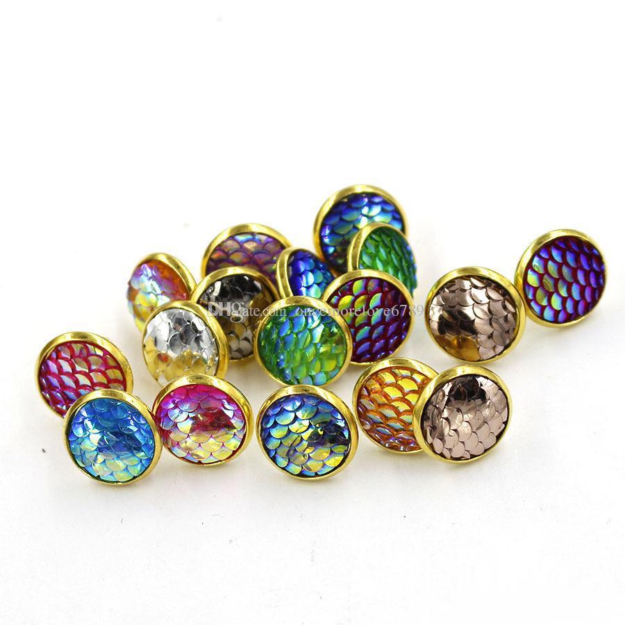 Moda drusy druzy brincos banhado a ouro 12 milímetros Redonda Resina Mermaid Peixe / Dragon Scale brincos por Mulheres Lady Jewelry