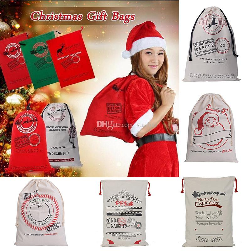 New Christmas Halloween Gifts Bags Drawstring Canvas Santa Sack Environmental Reindeers Gifts Bags Elk Handbags Canvas Bags 50*70cm WX-B09
