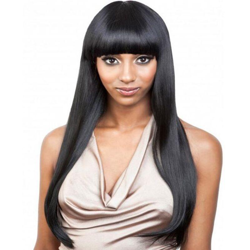 Simulación encantadora Brasileño Pelucas de cabello humano Pelucas rectas sedosas Color natural con flequillo Para mujeres negras En stock