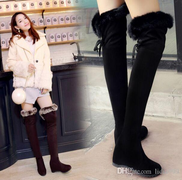 Wholesale-New Arrival Hot Sale Specials Super Fashion Influx Cheap Wool Elastic Winter Rabbit Hair Warm Knight Wedge Knee Boots EU34-43