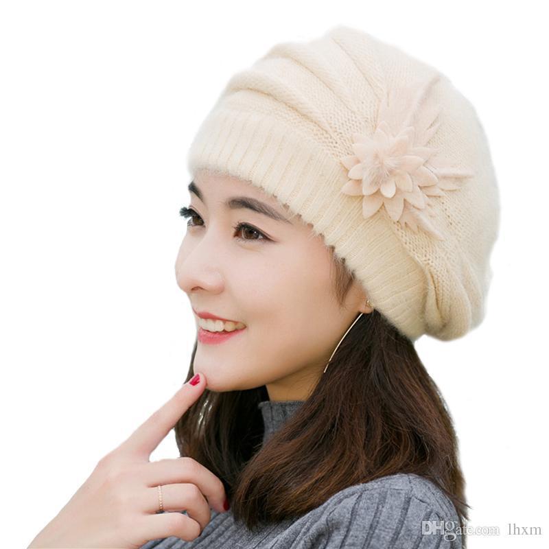 Brand-IDUOLELELE Cappelli invernali di buona qualità per le donne beanie inverno berretto da donna berretto solido. Capelli di coniglio
