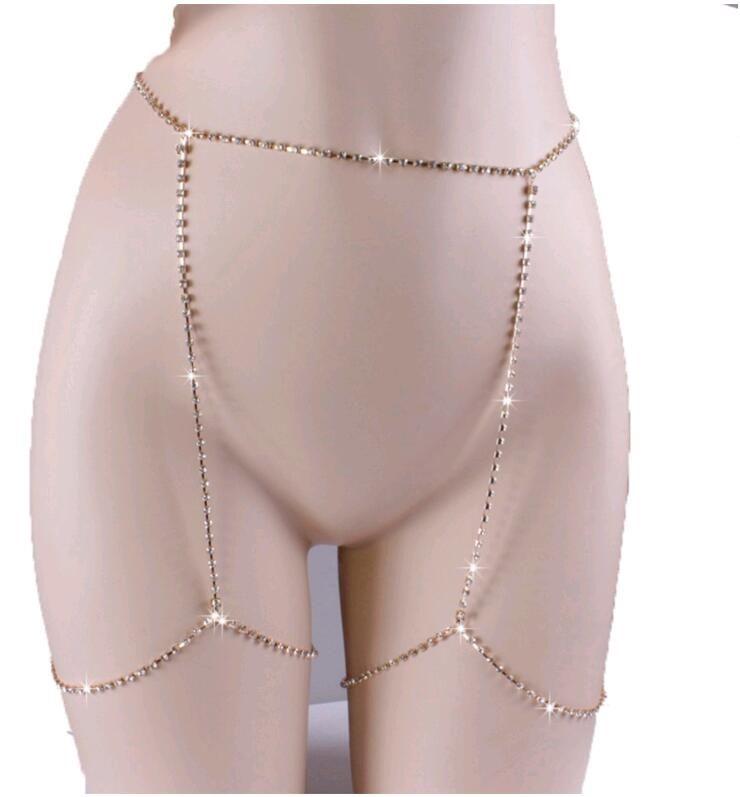مثير هيئة سلسلة كاملة لامعة الراين تشيكوسلوفاكيا الماس الجمال الساحرة الساق مجوهرات فضة الذهب النساء سلاسل البطن