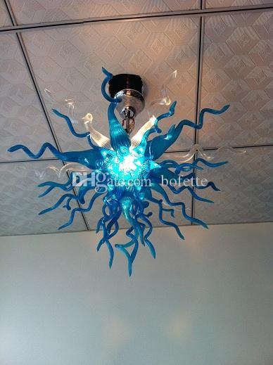 100% Handmade Italian Chandelier Clear and Blue High Quality Modern Murano Glass Wedding Lights for House