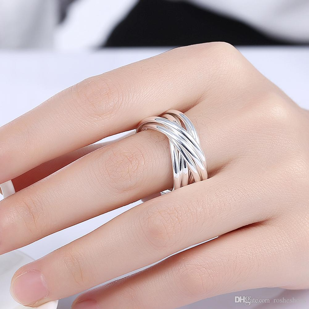 2018 925 Silver Ring Round Simple Classic Romantic Female Models ...
