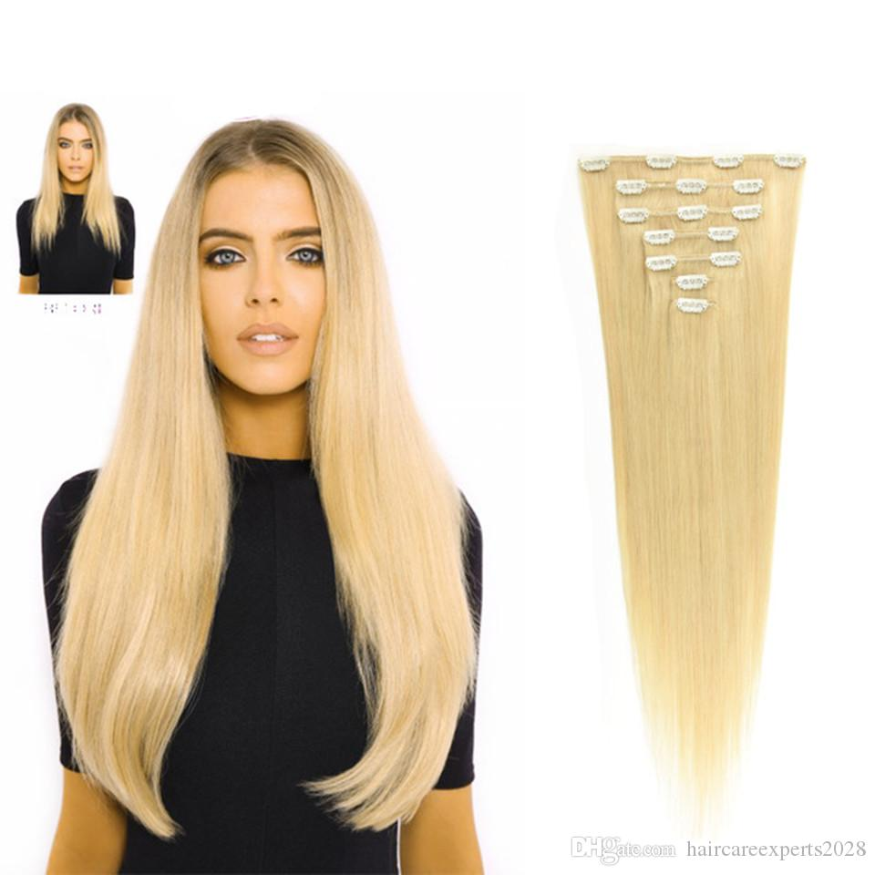 Reines Remy Jungfrau-brasilianisches Haar-Klipp in den Verlängerungen 220G vollen Kopf Klipp in brasilianischen Haarverlängerungen # 613 # 60 Klipp in den Haarverlängerungen
