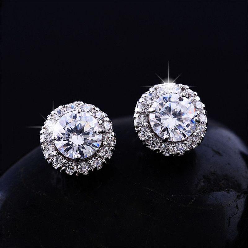 Новое поступление лучшие друзья 18K белое золото позолоченные серьги Большие бриллиантовые серьги для женщин Белый Циркон серьги