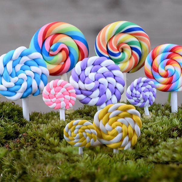 12pcs Rainbow Lollipop wedding home decor miniatures gnome terrarium figurines fairy garden ornaments dollhouse DIY