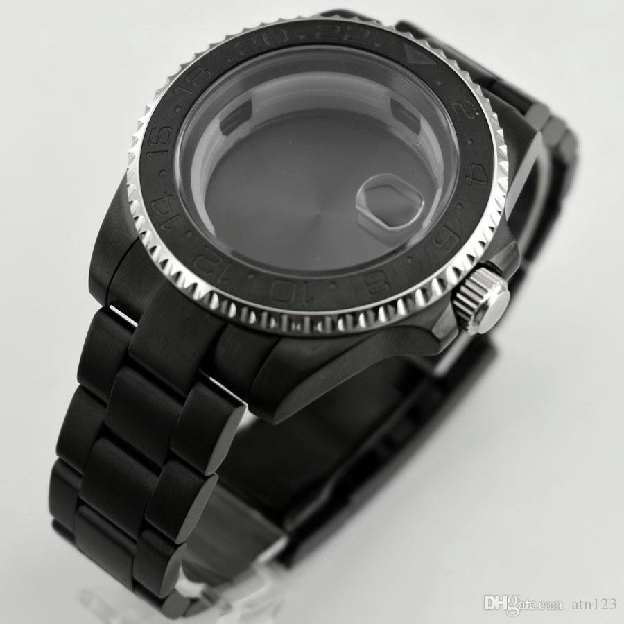 40mm Etui En Acier Inoxydable Noir Pour ETA2836 DG2813 DG3804 Miyota 8215/8205 Mouvement Accessoires Boîtier En Verre Saphir P624