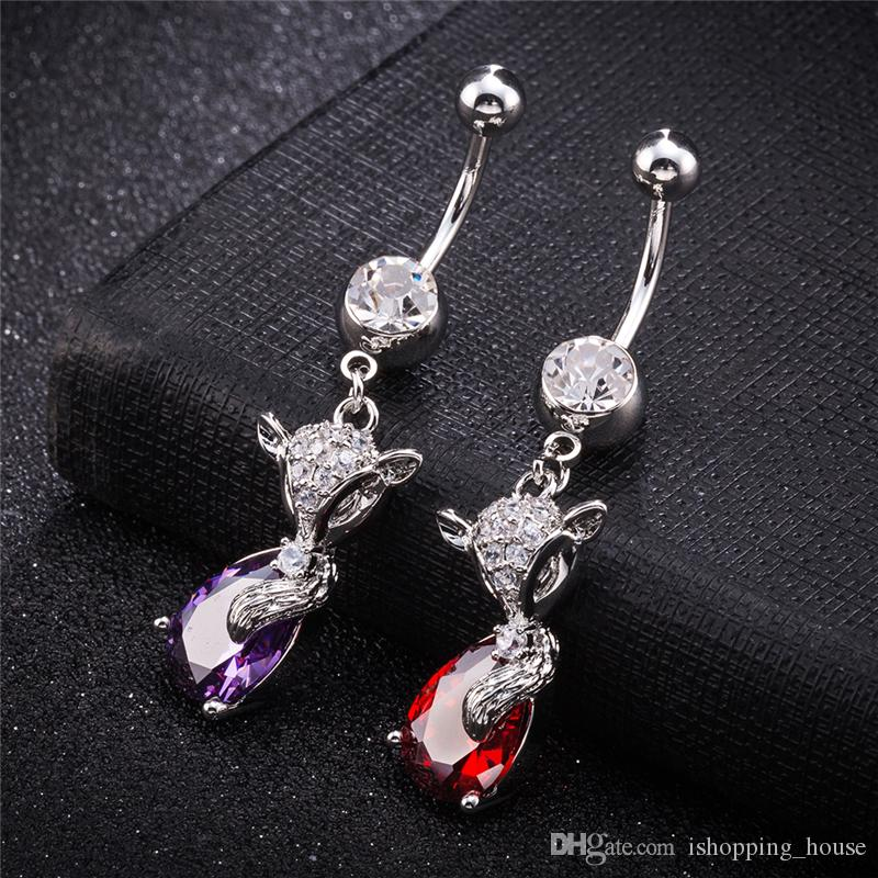 18k White Gold Plated Super Sexy Belly Ring Crystal Fox Navel & Bell Button Rings Trendy Crystal Belly Ring For Women BR-286