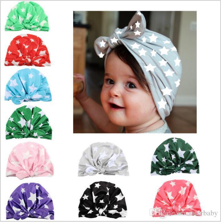 Baby Hats Girls INS Bunny Ear Caps Knot Bow Turban Fashion Stars Head Wraps Kids India Soft Hats Winter Beanie Print Headwear B2665