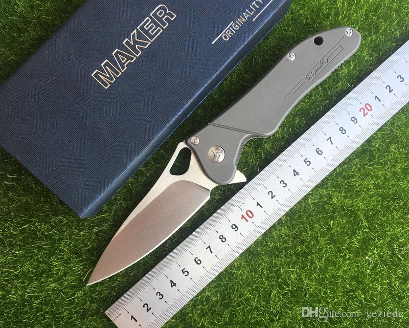 제조 업체 3 디자인 원래 세라믹 볼 베어링 플리퍼 접이식 칼 S35vn (100 %) TC4 티타늄 핸들 캠핑 사냥 주머니 칼 EDC 공구