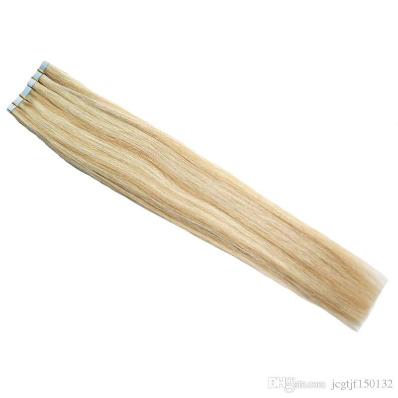 Fita em extensões de cabelo humano 40 pcs p27 / 613 piano cor loira cabelo brasileiro cabelo pele de trama de pele extensões 100g fita dupla desenhada em