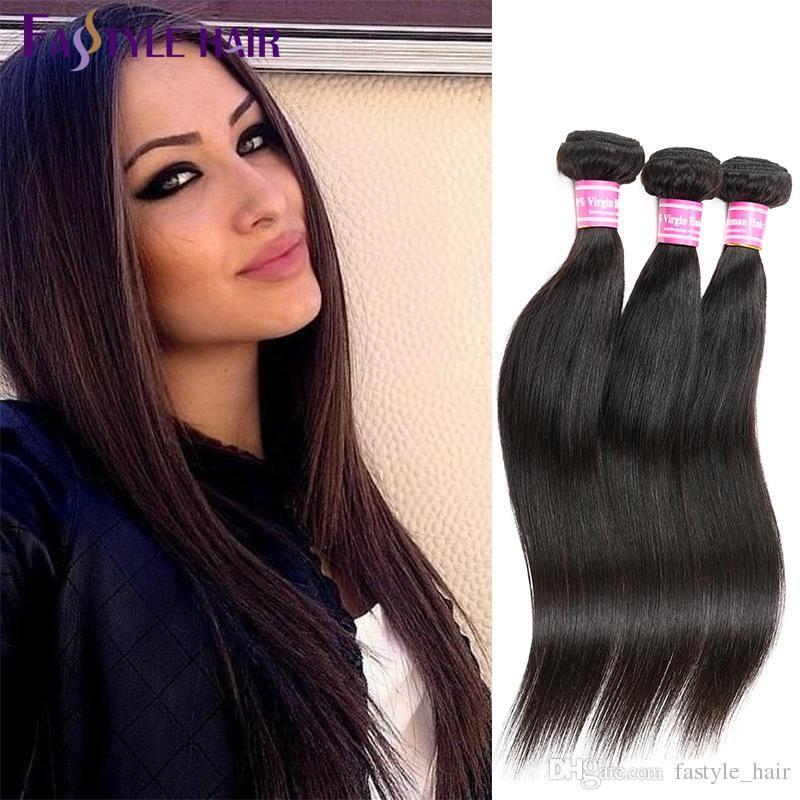 Fastyle Malaysian Straight ExtensionsTop Quality Unprocessed Brazilian Peruvian Indian Mink Virgin Human Hair Bundles Natural Black 4pc/lot
