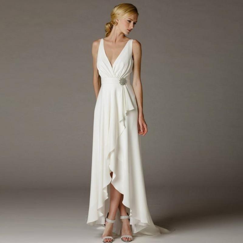 Discount Greek Wedding Dress Beach Simple Deep V Neck Empire Waist ...