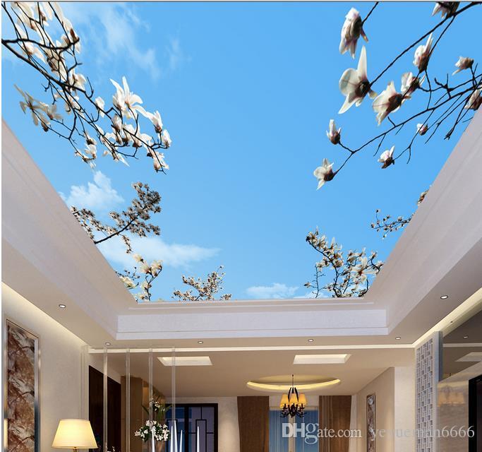 Soffitto 3d Cielo blu e nuvole bianche 3d murale carta da parati cielo soffitto 3d camera wallpaper paesaggio soffitto