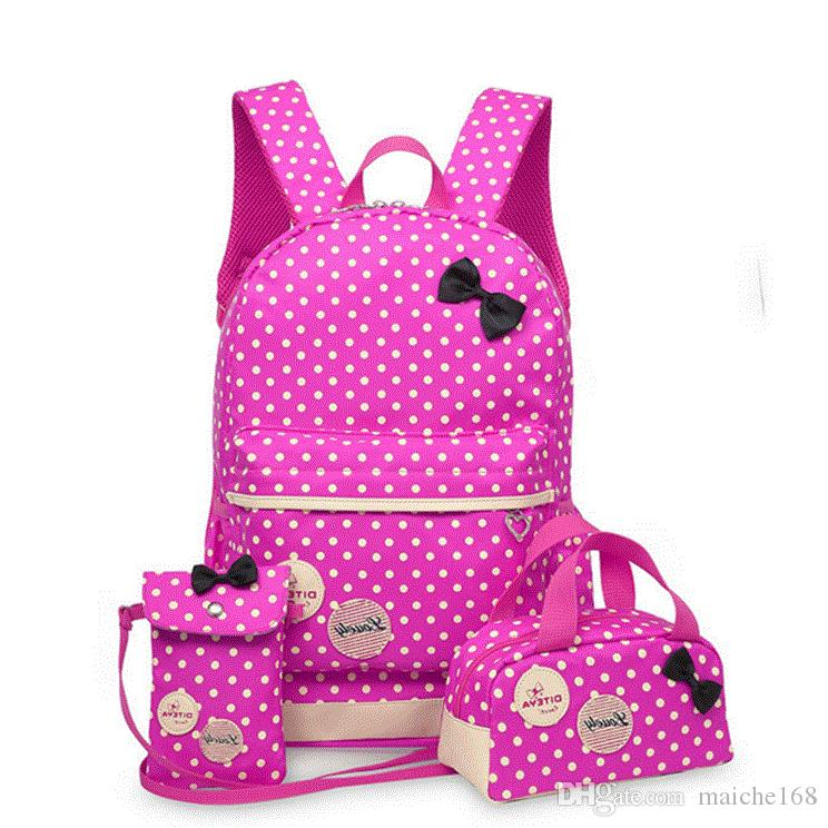 Sacos de escola para Adolescentes Meninas Mochila Grande Capacidade Senhoras Dot Impressão Mochila Escolar conjunto Mochila Bagpack Bonito 3 pcs