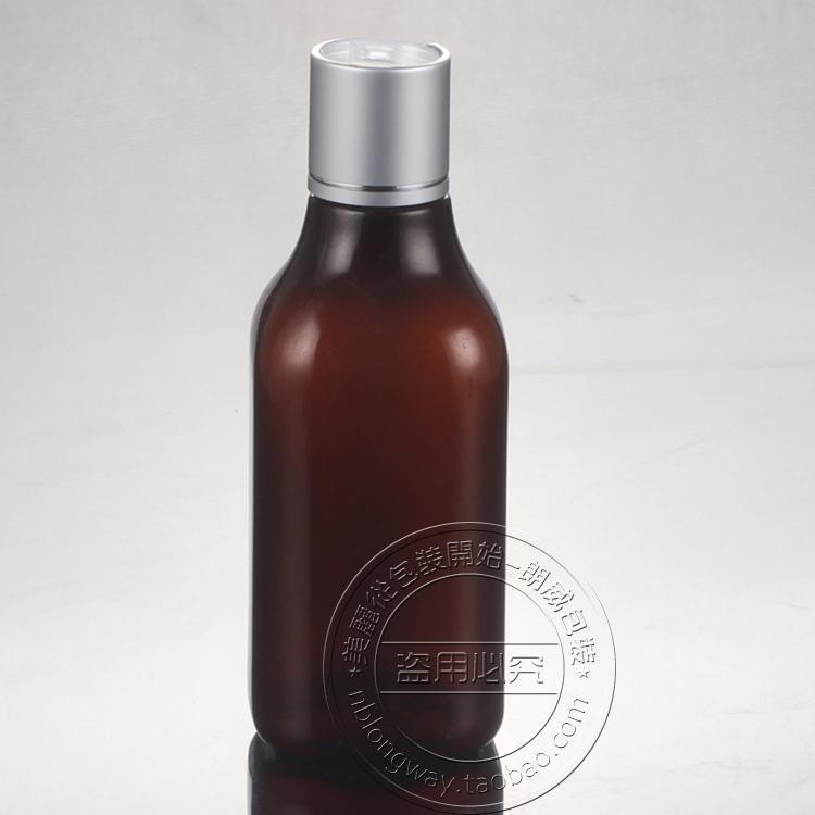 Wholesale- 30PCS-200ML eloxiertes Aluminium Press Schraubverschluss Flasche, Bernstein Kunststoff kosmetische Container, Leer Serum Sub-Abfüllung, Shampoo-Flasche