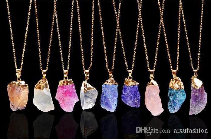 Collares colgantes de piedra natural de la manera Colgante del collar de la piedra preciosa del grano de Chakra Colgantes cristalinos originales de la joyería de los collares del cuarzo de cristal