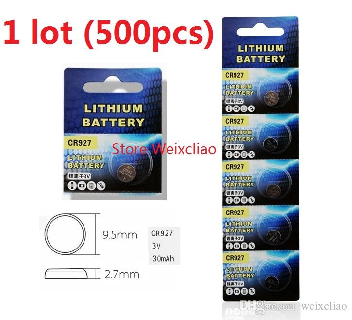 500pcs 1 lot CR927 3V lithium li ion button cell battery CR 927 3 Volt li-ion coin batteries Free Shipping
