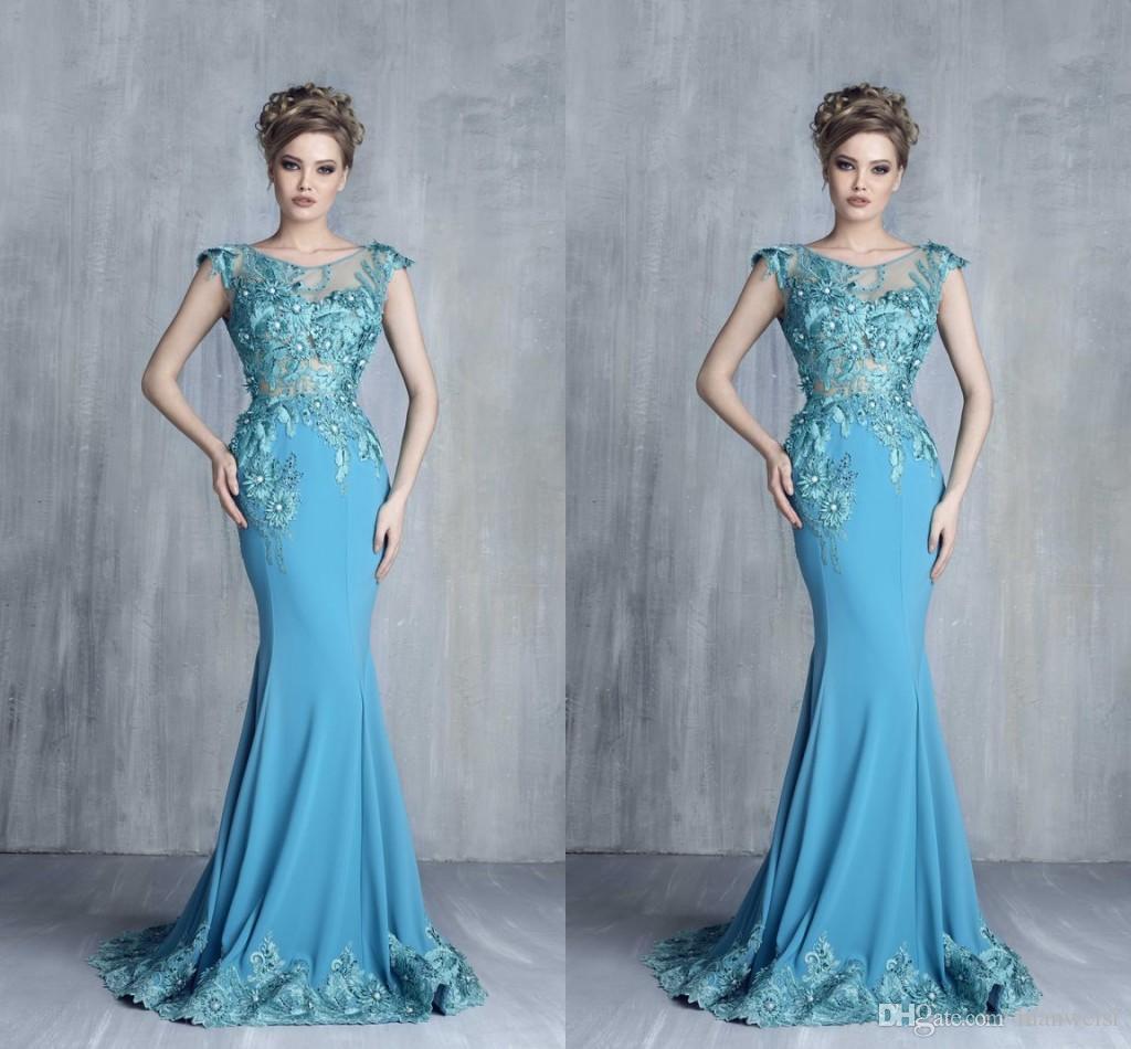 Tony Chaaya 2019 Koronki Arabskie Suknie Wieczorowe Czapki Rękawy Syrenka Elastyczna Satin Prom Dress Sexy Specjalne okazje Suknie