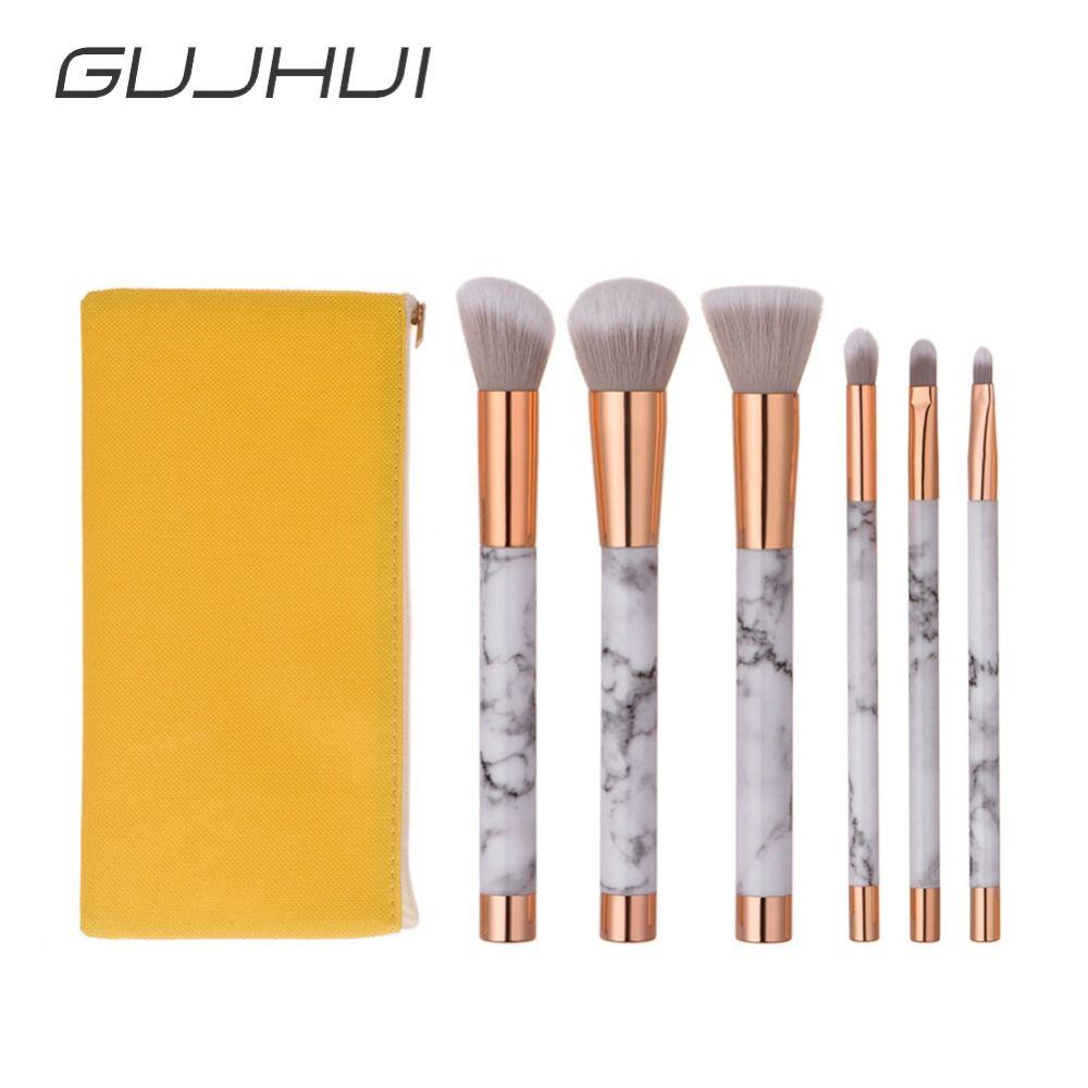 6pcs Professional Marbling Makeup Brushes Set Powder Blush Lip Eyeshadow Concealer Cosmetic Marble Texture Brush Tools #251137