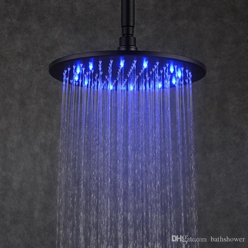 Online Cheap Black Rain Shower Head 12 Inches Led Overhead Shower ...