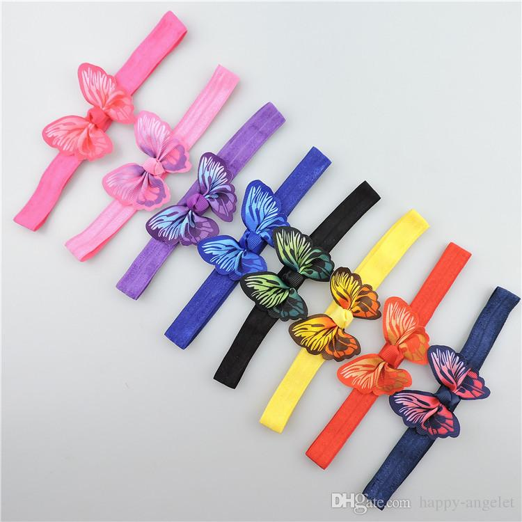20pcs newest stretchy Hairbands hair Accessories with 3D simulation butterfly hair bows flowers headbands hair band SG8649