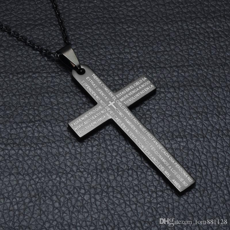 Wholesale punk titanium stainless steel religious bible black color punk titanium stainless steel religious bible black color stone cross pendants necklaces for men jewelry aloadofball Gallery