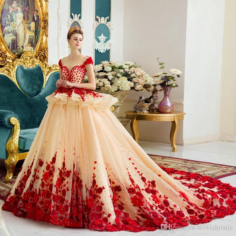 2016 Wedding Dresses 3d Floral Appliques Ball Gown Luxury New Retro ...