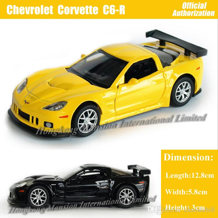 1:36 Scale Diecast Alloy Metal Car Model For Chevrolet Corvette C6-R Collection Model Pull Back Toys Car - Black/Yellow/Red/White