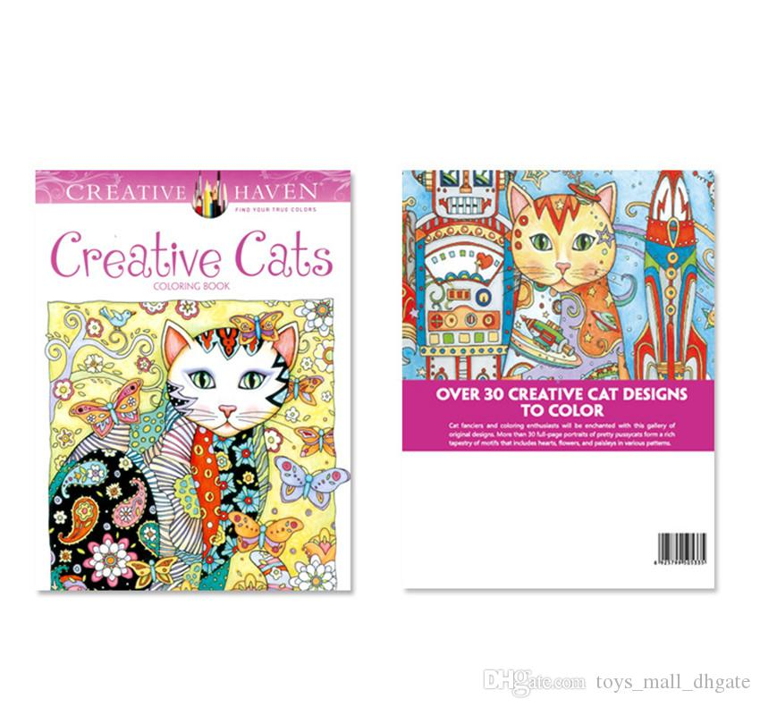 new kids coloring books drawing creative cats painting book children adult relieve stress kill time graffiti - Kids Painting Book