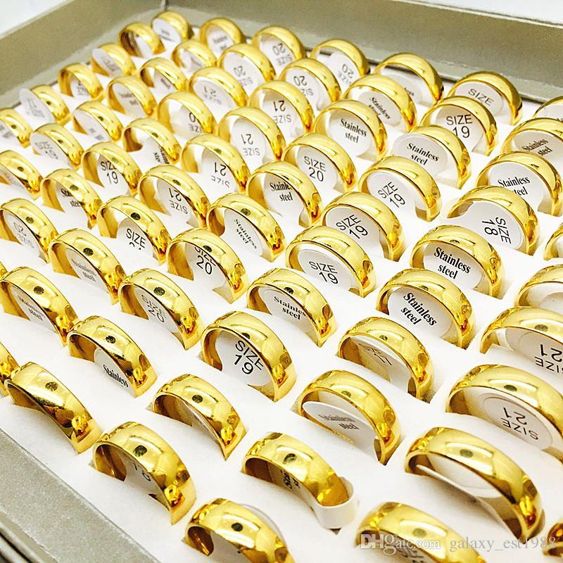 100pcs placcato oro 6 millimetri di larghezza in acciaio anelli in acciaio fascia di nozze monili di marca nuovi amanti delle donne degli uomini Top Ring regali
