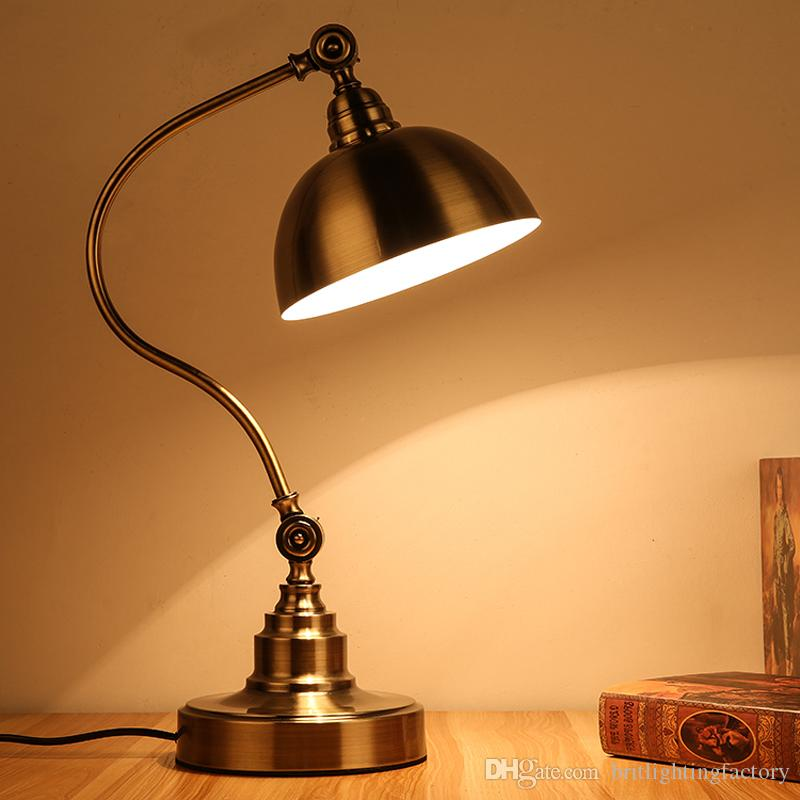 lampada da tavolo studio medicazione retrò lampada da tavolo in bronzo antico lampada da comodino studio lampada da tavolo in ferro occhio stile lampada da tavolo a led da ufficio