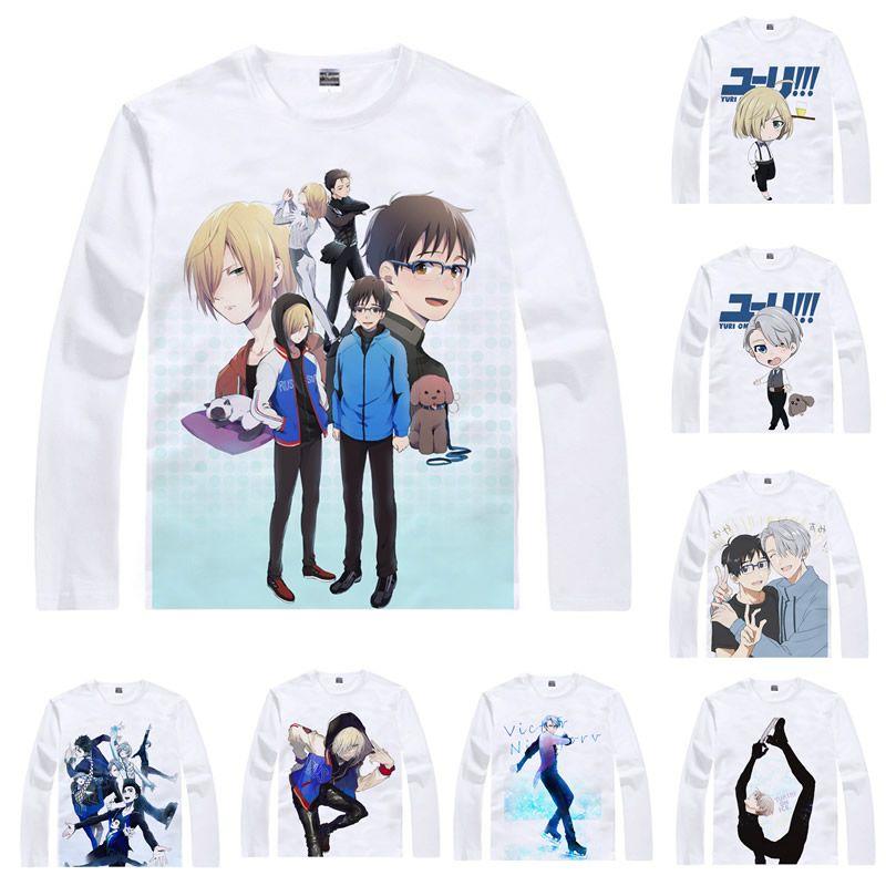 Camisa de anime Yuri en camisetas de hielo Estilo de manga larga yuri Katsuki Victor Nikiforov Cosplay Motivs Kawaii Camisetas