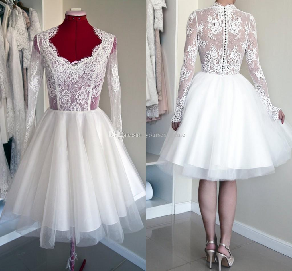 Discount Lace Tulle Short Wedding Dresses Long Sleeves Wedding
