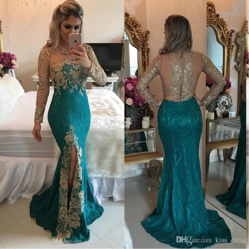 Long Sleeve Turquoise Mermaid Prom Dresses Arabic Style Backless Sparkly Beaded Applique Front Split Sheer Evening Party Gowns 2019 New P263