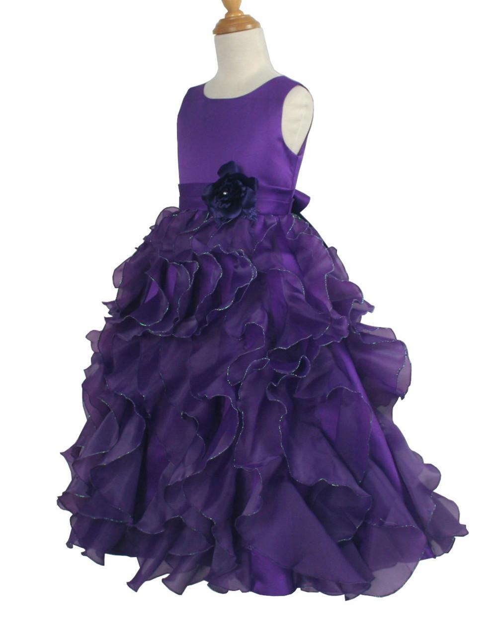 New Fashion Purple Organza Ruffle Custom Cute Little Flower Girl Dress Lunghezza del pavimento Fatto a mano Fiori Archi Bambini Prom Abito di compleanno 128