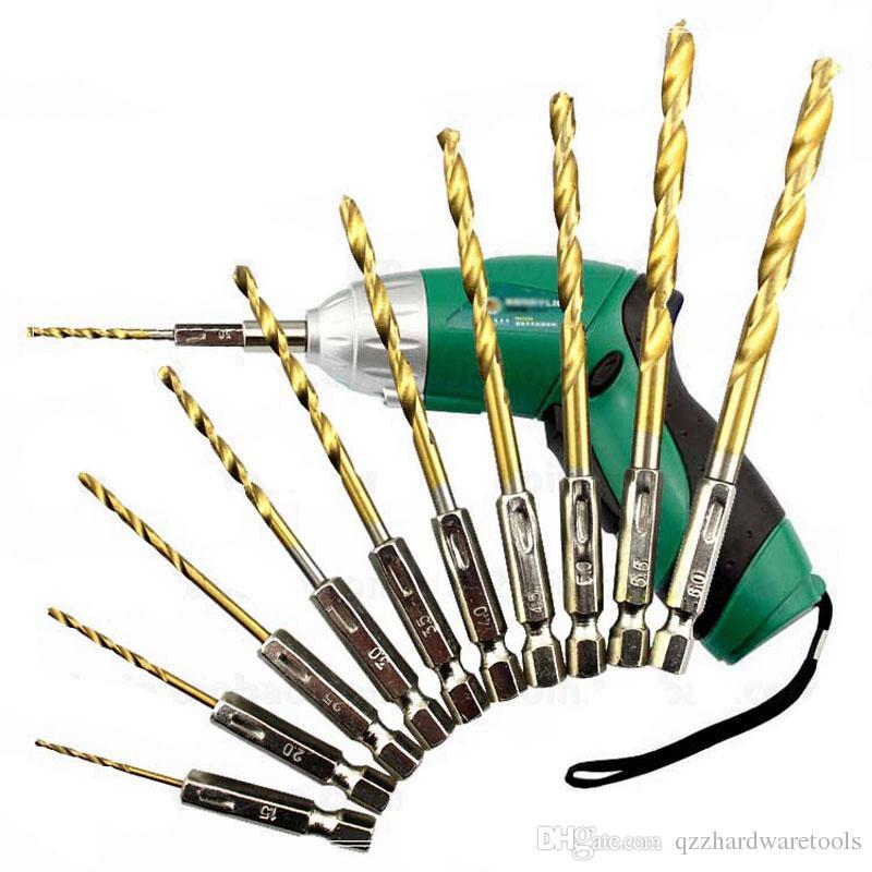 13pcs brocas de mango hexagonal fija HSS brocas recubiertas de titanio 1/4 herramientas de perforación de madera Brocas helicoidales de carburo de tungsteno