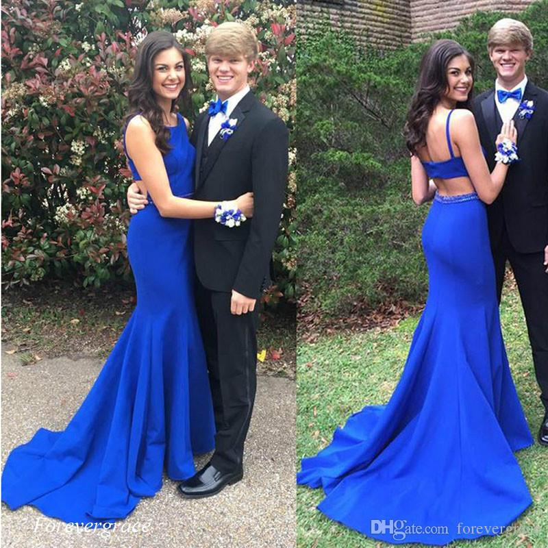 Kraliyet Mavi İki Adet Balo Elbise Seksi Spagetti Sapanlar Aç Geri Kadınlar Özel Durum Elbise Parti Kıyafeti Custom Made Artı Boyutu Giymek