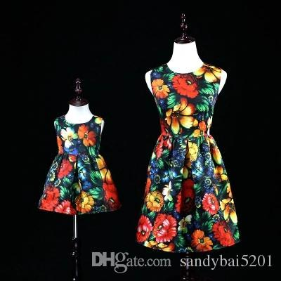 Mother Daughter Floral Print Tutu Dresses 2020 Mom and Me Sleeveless Matching Dress Mother and Maughter Clothes for Party Kids Years Wear