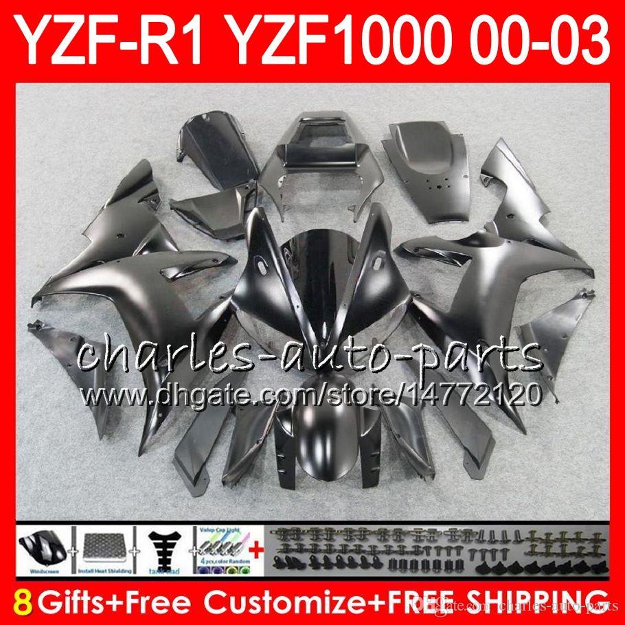 8Gift 23Color Cuerpo para YAMAHA YZF R1 YZF 1000 YZFR1 02 03 00 01 62HM21 Mate negro YZF1000 R 1 YZF-R1000 YZF-R1 2002 2003 2000 2001 Carenado