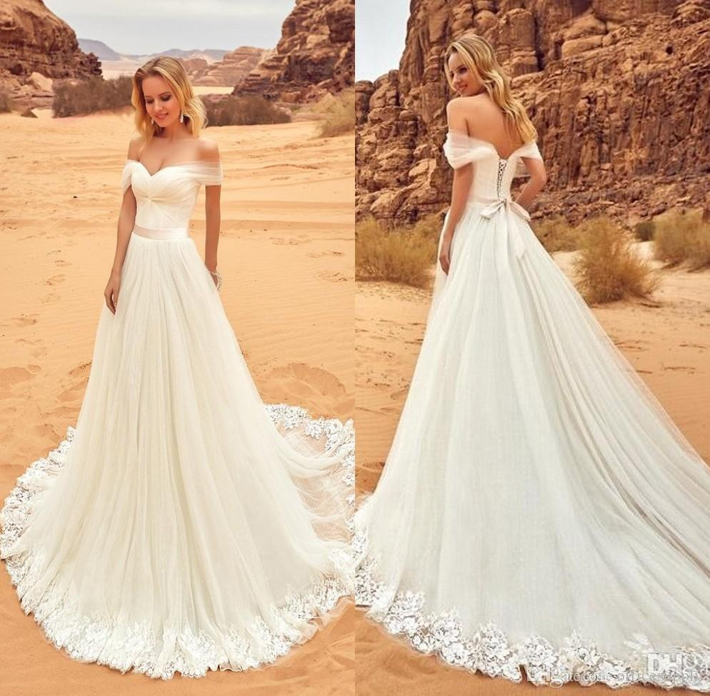 Discount 2018 Desert Lace Tulle Wedding Dresses Vestidos De Noiva Off The Shoulder Country Wedding Gowns Cheap Beach Bride Dress Ivory Wedding Dresses