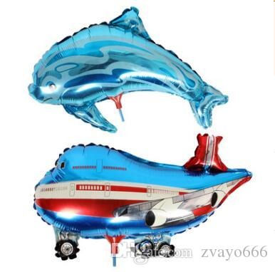 41*30cm The factory sells the blue baby dolphin cartoon with aluminum foil balloons