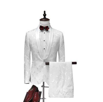 male boy jacket blazer outerwear men set danc(jacket+pant) suit male boy jacket white blazer outerwear wedding groom prom singer dress perf