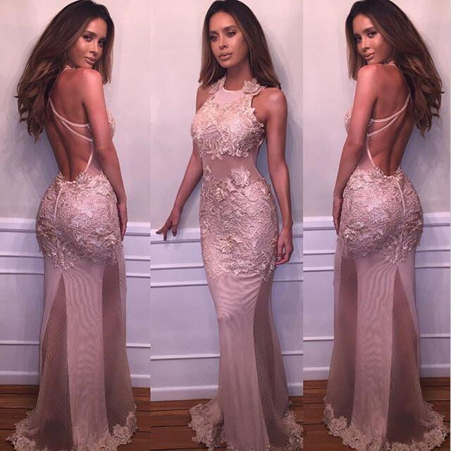 Blush Pink Mermaid Evening Dress See Through Lace Applique Backless Jewel Sleeves Evening Dress Wear Floor Length Tulle Cheap Prom Dres