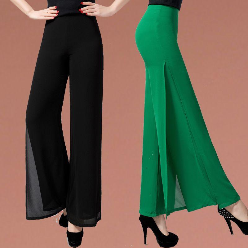 2017 New fashion summer women's high waist chiffon vent jag design wide leg long pants double layer flare pants solid color plus size 34