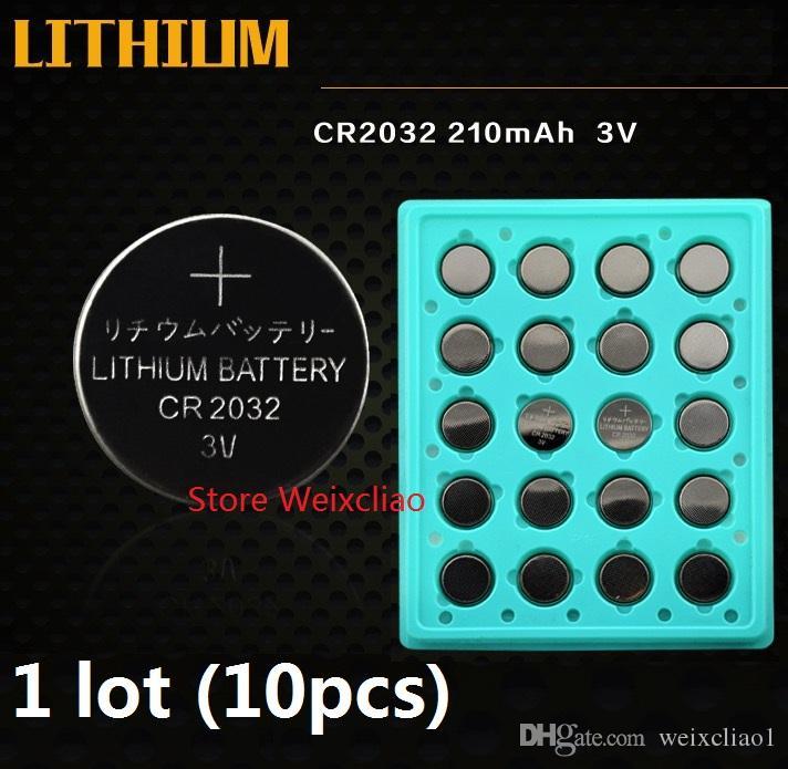 10pcs 1 lot CR2032 3V lithium pile au lithium ion bouton pile CR 2032 3 volts li-ion pile de pièces plateau bac Livraison gratuite