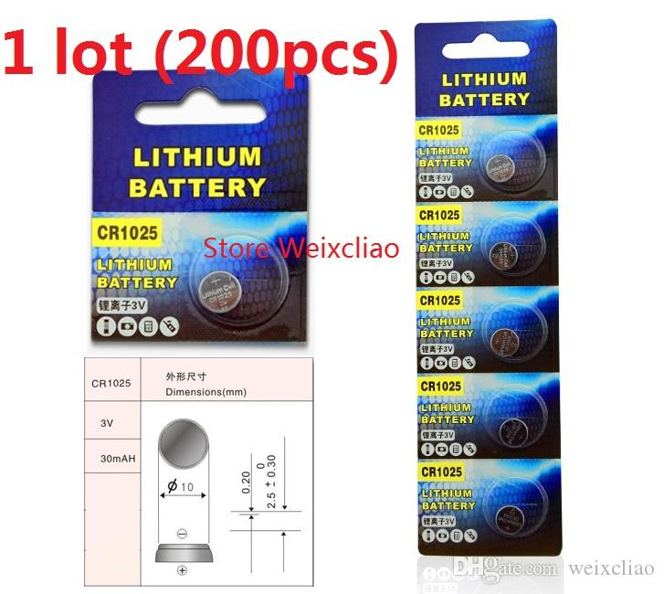 200pcs 1 lot CR1025 3V Lithium li ion button cell battery CR 1025 3 Volt li-ion coin batteries free shipping
