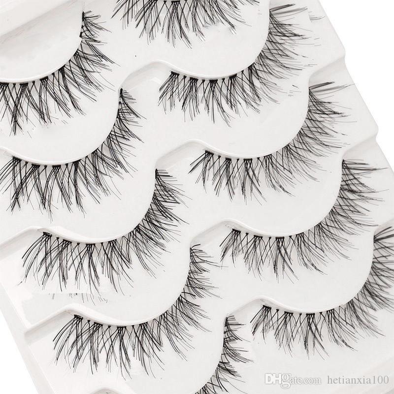 Beleza cílios 5 pares falsos Maquiagem Handmade Natural Moda longo cílios falsos eyelashes