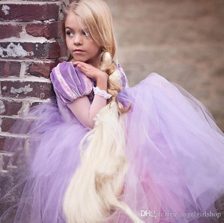Compre Elegante Niña Formal Tutu Vestido Púrpura Princesa Vestido De ...